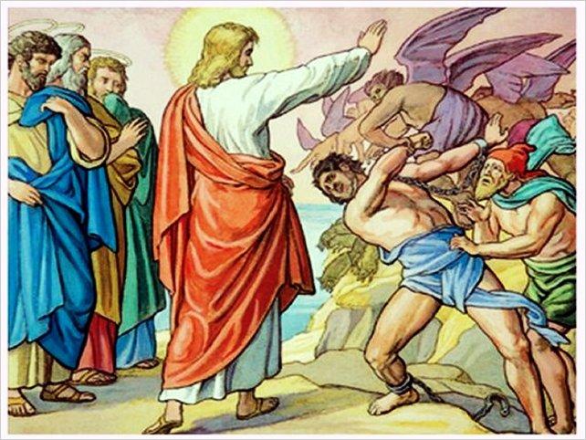 Jesús expulsa unos demonios